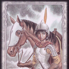 Casca holds the reins of her horse. (Secret card 7)