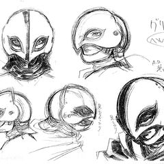 Profile sketches of Griffith's helmet, shadowed with charcoal, for the 1997 anime.