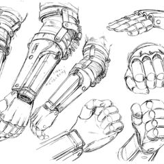 Guts' prosthetic arm concept sketches for the 1997 anime.