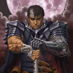 Guts, covered in scars, sits with the Dragon Slayer.