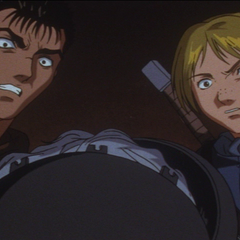 Guts and Judeau shocked at the sight of Griffith's tortured body.