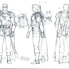 Front, side, and back view sketches of Guts wearing his Band of the Falcon armor for the Golden Age film trilogy.