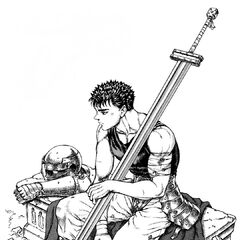 Guts sits alone with his armor, a new member of the Band of the Falcon.