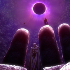 Griffith reborn as Femto of the God Hand.