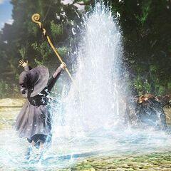 Schierke summoning a water spout.