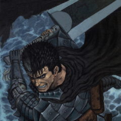 Guts, ready to swing the Dragon Slayer.