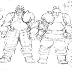 Full body sketches of a young Pippin clad in armor, with illustrations of his hands' plating, for the 1997 anime.