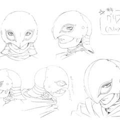 Clean profile sketches of Griffith's helmet for the 1997 anime.