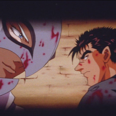 Guts and Griffith covered in blood.