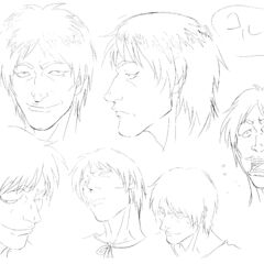 Profile drawings of an older Corkus from several angles showing various expressions for the 1997 anime.