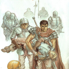 Guts is directed by Judeau, carrying a bloody Falcon.