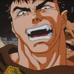 Guts appears furious.