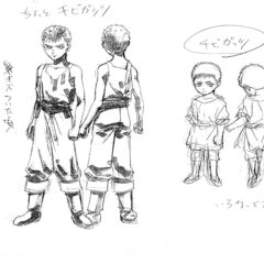 Front and back views of Guts as a 6 and 8-9 year old boy for the 1997 anime.