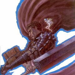 Guts' cape flows around the Dragon Slayer.