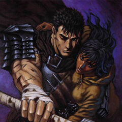 Guts defends a regressed Casca.