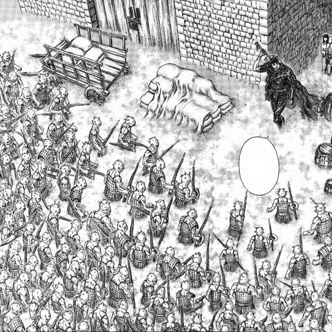Guts against the Daka in Vritannis.