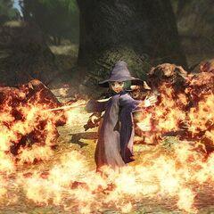 Schierke using fire magic against trolls.