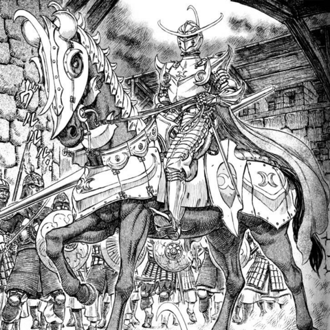 Locus atop his steed during his first encounter with <a href=