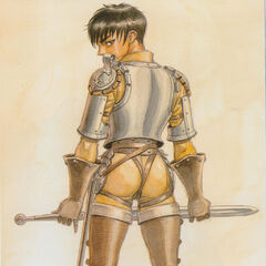Casca looks back, clad in armor.