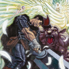 Guts, accompanied by Puck, stands against Zodd and Griffith.