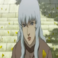 Griffith casually talks to Guts.