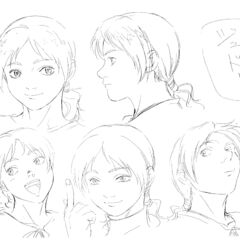 Profile drawings of an older Judeau from several angles showing various expressions for the 1997 anime.