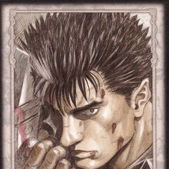 Guts holds the Dragon Slayer. (Secret card 21)
