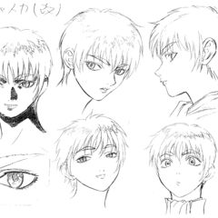 Profile drawings of Casca showing various expressions for the 1997 anime.
