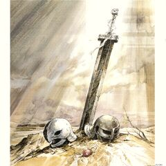 Art of Griffith and Guts' helmets, with the Crimson Beherit and Guts' sword, for the 1997 anime.