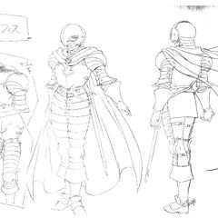 Full body sketches of Griffith's full set of armor as the leader of the Band of the Falcon for the 1997 anime.