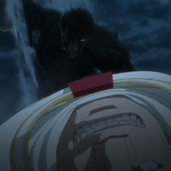 Guts stands over Mozgus' motionless body.