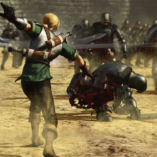 Judeau throwing knives at enemy soldiers.