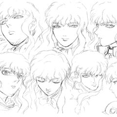 Profile drawings of an older Griffith showing various expressions for the 1997 anime.