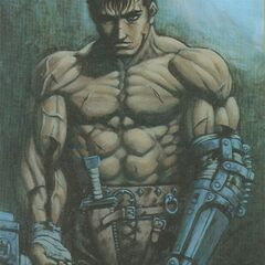 Guts, without armor, covered in scars.
