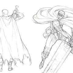 Concept art of the Dragon Slayer and Black Swordsman Guts for the Golden Age film trilogy.