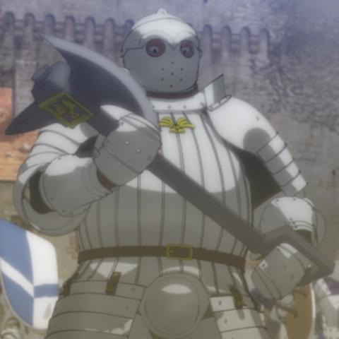 Bazuso wields his hefty battleaxe.