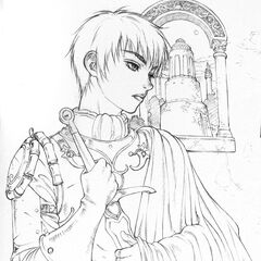 A detailed concept drawing of Casca's design for the Golden Age film trilogy.