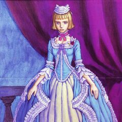 Farnese in a grand dress upon returning to the <a href=