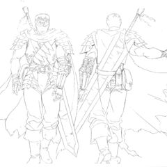 Detailed front and back view concept drawings of Guts in his Black Swordsman attire for the 1997 anime.