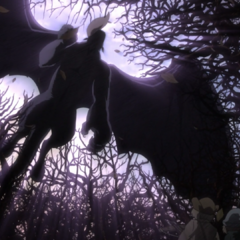Zodd flies over a forest with Griffith in hand.