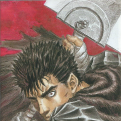Guts ready to attack with the Dragon Slayer.
