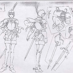 A variant of the full body sketches of Casca clad in armor, with drawings of her battle gear, for the 1997 anime.