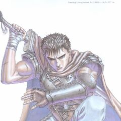 Guts crouches, ready to draw his sword.