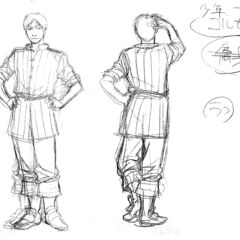 Front and back view sketches of a young Corkus for the 1997 anime.