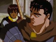 Casca y Guts discuten tras la batalla contra la Oveja de Hierro (anime 1997)
