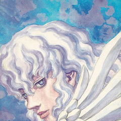 Griffith ethereally gazes on.