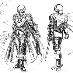 Full body sketches, shadowed with charcoal, of Griffith donning his full set of armor for the 1997 anime.