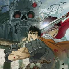 Promotional poster featuring Guts ready to battle for the first film of the trilogy – <i>Golden Age Arc I: Egg of the Supreme Ruler</i>.