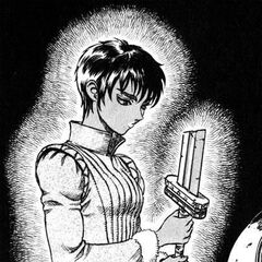 Casca sadly holds Guts' broken sword after he leaves the Band of the Falcon.
