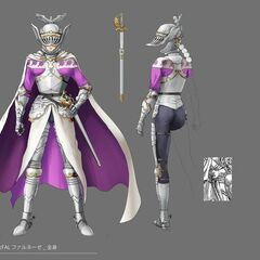 Full color concept art of Farnese in her Holy Iron Chain Knight attire.